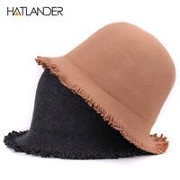 [HATLANDER]Solid luxury wool top hat for women fedoras outdoor winter bucket cap pork pie chapeau lady girls church bowler hats