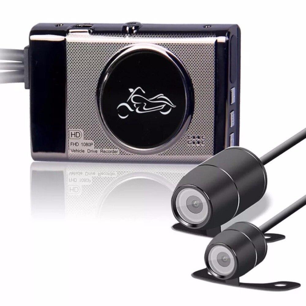 Livraison DHL 3 pcs/lots Moto Vidéo DVR HD 1080 p Étanche Vélo Moto Voiture Véhicule Cam Double Objectif Dash caméra caméscope