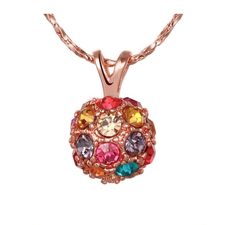 2016 new style Austria Crystal pendant necklace Lucky Love Beads Guardian - colorful Ball necklace