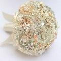 Серебро, слоновой кости и золота брошь букет кристалл Люкс Свадебный Букет на заказ Старинные Невесты букеты