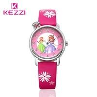 2016 Hot Sale Rhinestone Princess Cartoon Watch Fashion Lovely Girl Children Watches PU Strap Quartz Wristwatch