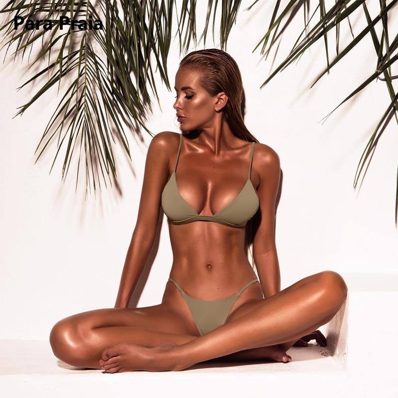 HTB1h.TqtnlYBeNjSszcq6zwhFXaw 9 Colors Solid Bikini Set 2019 Sexy Push Up Swimwear Women Brazilian Swimsuit Low Waist Biquini Halter Two Pieces Bathing Suit
