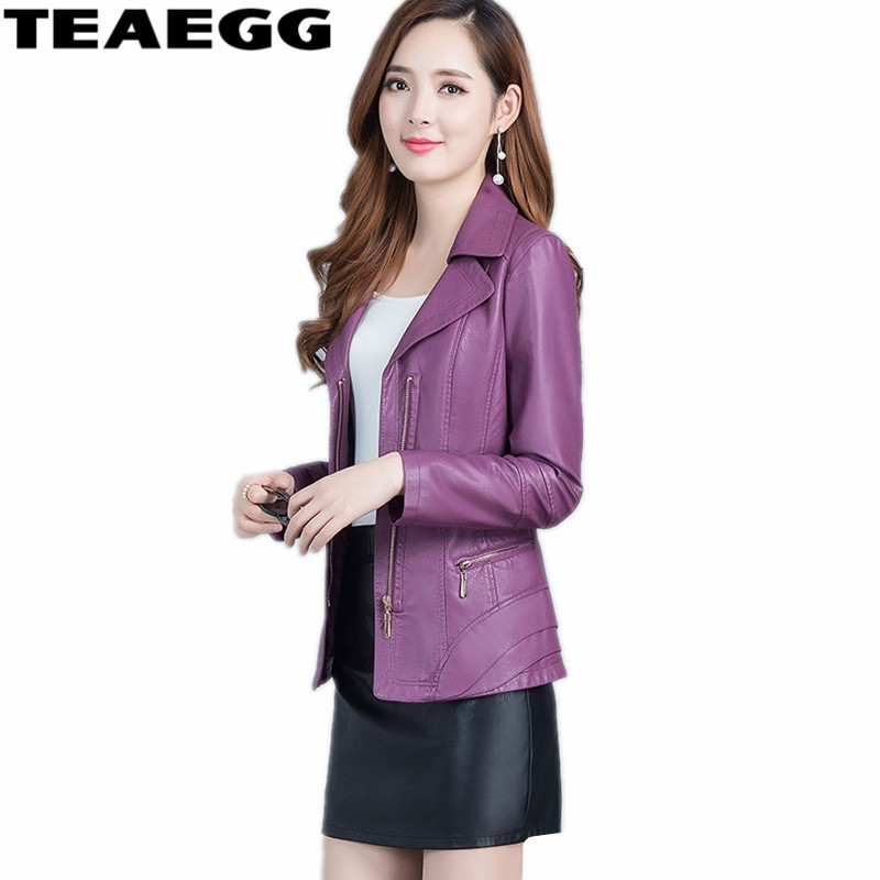 TEAEGG New Spring Autumn Pu   Leather   Jacket Women's Short Coat Purple Casual Womens   Leather   Jackets And Coats Outwear AL661