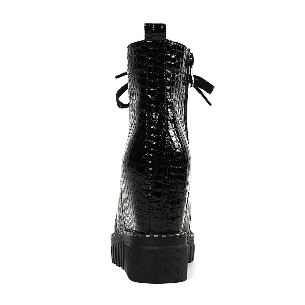 Chaussures Pour Fur Vache Automne Hauteur Black Add Femmes Plate forme Augmenter 32 Hiver Fur Bottines No wine Fur De black Mode 40 Femme Brevet En Cuir Fretwork Western WerdoCxB