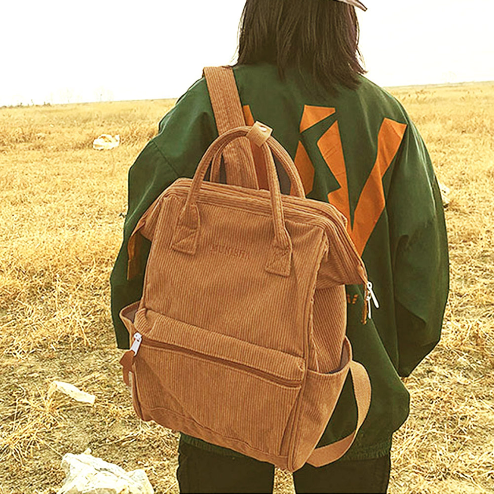 Corduroy Backpacks For Women 2019 Mochila Fashion Winter Casual Style Ladies Solid Color Back Pack Female Corduroy Backpacks For Women 2019 Mochila Fashion Winter Casual Style Ladies Solid Color Back Pack Female Teen Girls School Back