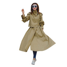 Loose windbreaker female long section Korean version of the spring 2019 new fashion was thin over the knee thin section coat 130 2019 spring new fat mm large size women s korean version of the wild was thin in the long section was thin double breasted vest