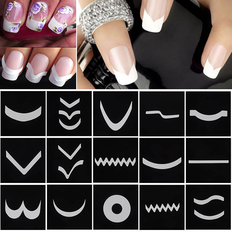 18 Sheets/Set French Style Nail Manicure Hollow Stencils Sticker DIY Nail Art Tips Guides Stencil Strip 3D Vinyls Decals Tools konad french set