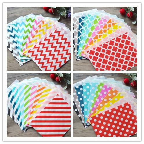 Even Party Supplies Kraft Goodie Paper Bag 5*7 Inch Chevron Polka Dot Candy Paper Bags Wedding Favors And Gifts Decoration