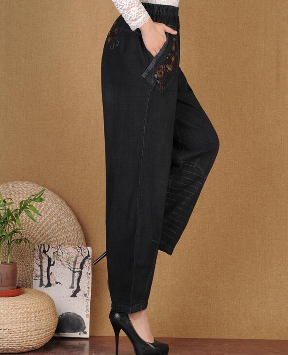 Yardas Gran Negro Mujeres 5xl Nueva Pantalones Vaqueros De Cintura Primavera Moda Ancho Alta Bordado L Caliente Suelto 2019 A8zfx