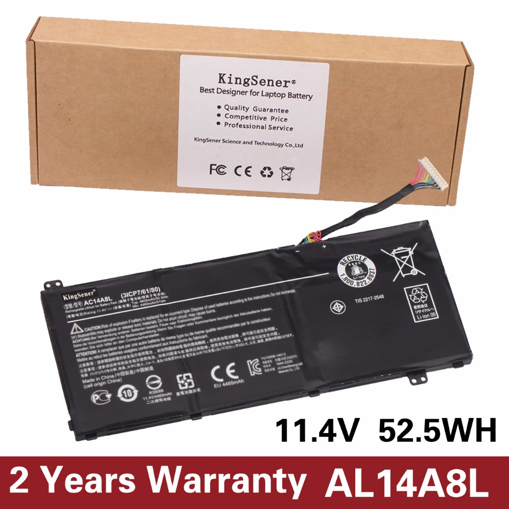 KingSener New AC14A8L Laptop Battery For Acer Aspire VN7-571 VN7-571G VN7-591 VN7-591G VN7-791G KT.0030G.001 11.4V 4605mAh new laptop keyboard for acer aspire vn7 791 vn7 791g ru russian layout