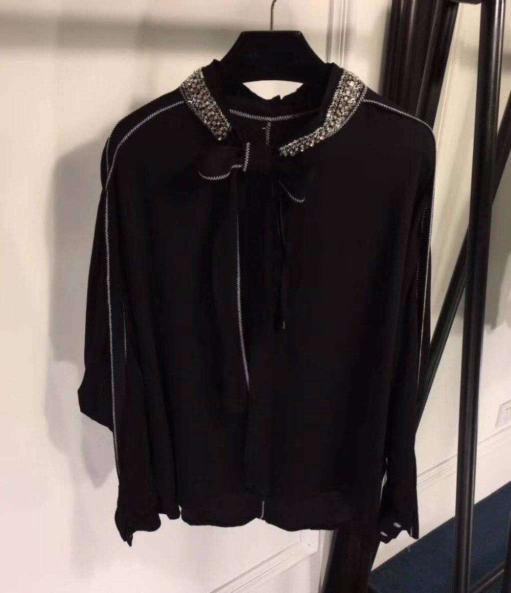 Blusas mujer de moda 2018 noir tempérament top femme slim coréen lâche mode vêtements élégant bureau à manches longues blouse