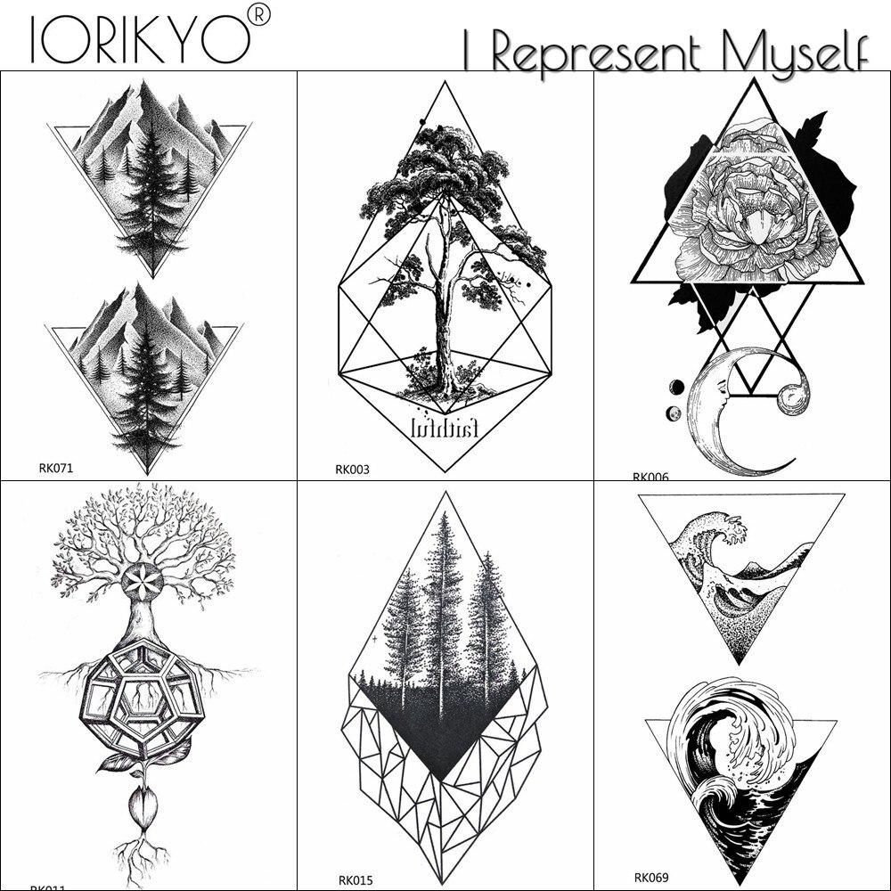 Iorikyo Men Fashion Arm Tattoo Stickers Women Body Art Drawing Geometry Pine Tree Temporary Tattoo Girls Fake Black Hands Tatoo Aliexpress
