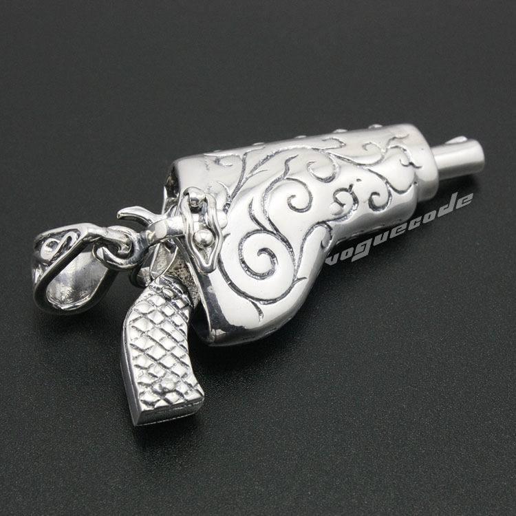 Guerre civile pistolet Revolver pistolet solide 925 en argent Sterling hommes Biker pendentif 8A006 (collier 24 pouces)