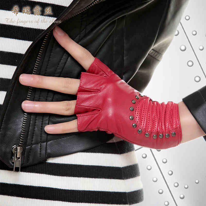 3858604460 Free Shipping High Quality Fashion Personality Half Finger Leather Gloves  Lady Sheepskin Gloves Rivet Women s Half-Finger Gloves