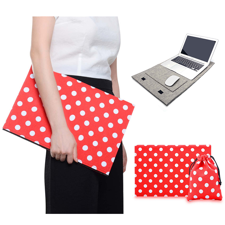new fashion felt Laptop Sleeve Case for macbook air 11 12 pro retina 13 red dot message laptop bag for 11 12 13 macbook