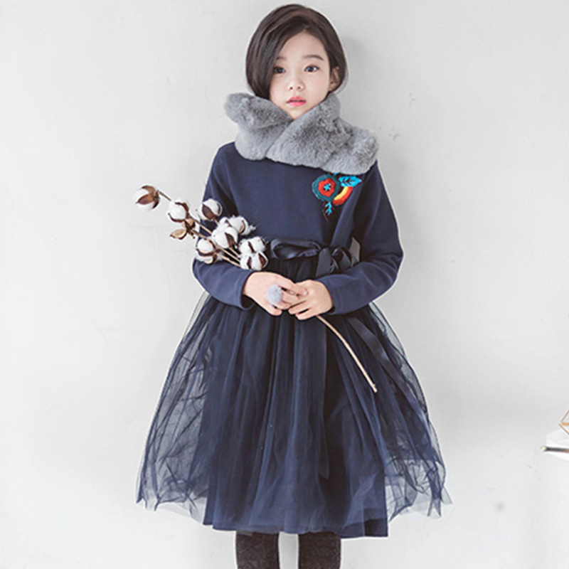 Autumn Winter Girls Dress Long Sleeve Blue Ball Gown Dress for Girl 4 6 8 10 12 14 Yrs Kids Teens Princess Party Tutu Dress fall girls princess dress set kids mesh vest robe and long sleeve t shirt 2pcs suit ball gown party clothing for 4y 14y