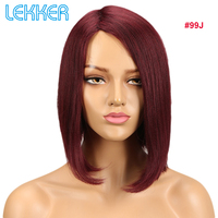 Lekker Hair Wigs Human Hair Short Straight Wigs For Black White Women Remy Human Hair Wig Brazilian Machine Made Ten Colors Deal