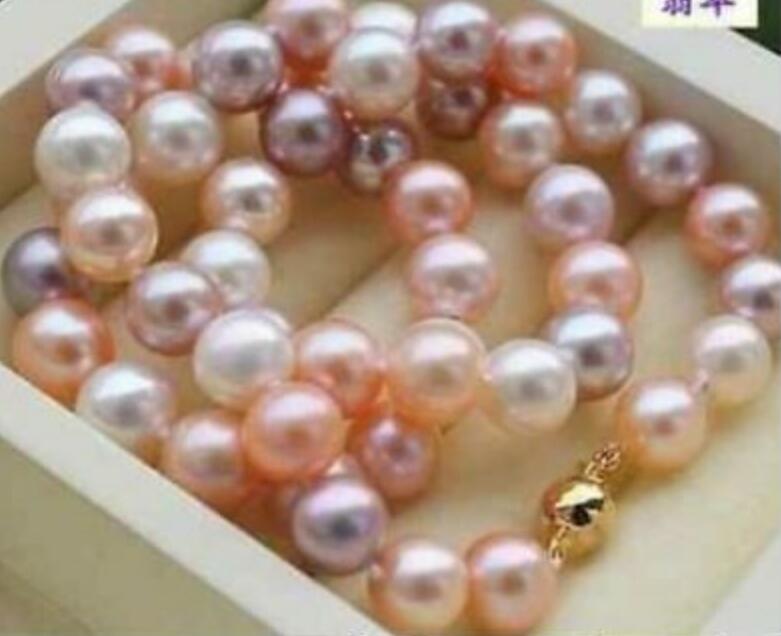 Charmant collier de perles AAA 10-11mm rond blanc rose violet multicolore fermoir jaune 18 36Charmant collier de perles AAA 10-11mm rond blanc rose violet multicolore fermoir jaune 18 36