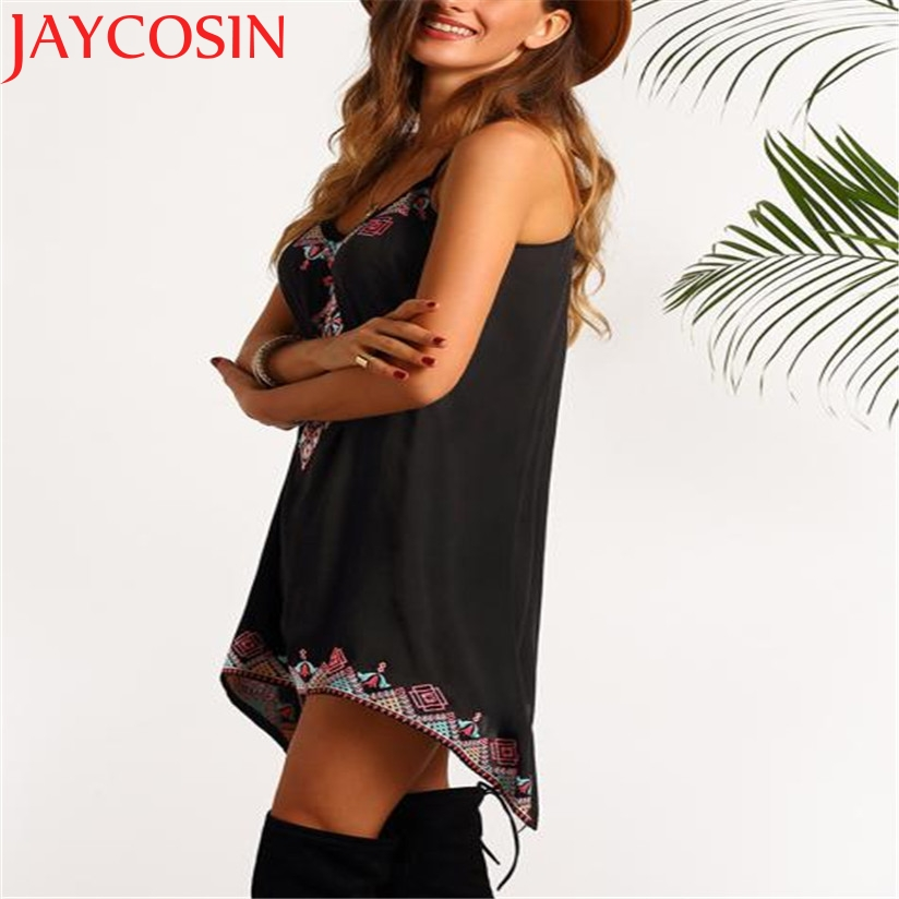 JAYCOSIN Fashion Women Printed Sleeveless Party Summer Beach Loose Short Spaghetti Strap Mini Dress Black Drop Shipping