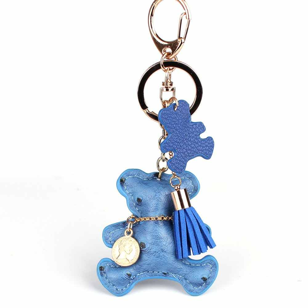 Multicolor Couro PU Bonito Teddy Bear Keychain Para As Chaves Animal Anel Chave Do Carro Chaveiro Mulheres Saco Chamrs Pingente