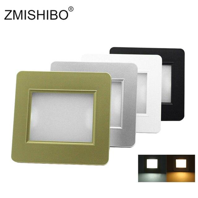 ZMISHIBO LED Stair Light Radar Sensor 100-240V2W Square Recessed Step Lamp With Light Sensor Footlight Cutting Hole Size 70*70mm