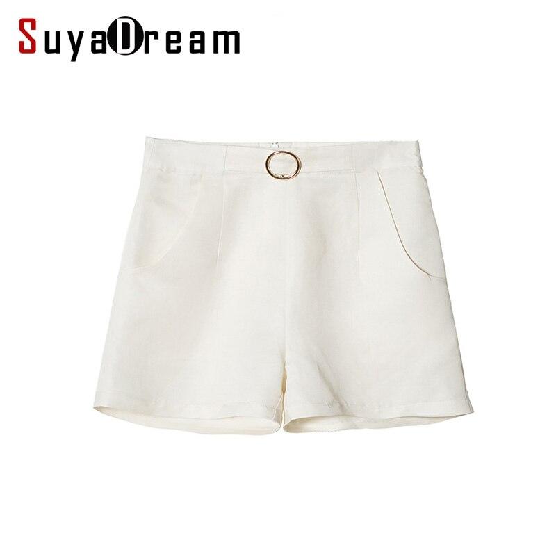 Shorts di Seta delle donne di Seta Reale di 50% 50% Cotone Bianco pantaloni di scarsità della signora Dell'ufficio OL di stile 2017 di Estate Nuovo-in Pantaloncini da Abbigliamento da donna su  Gruppo 1