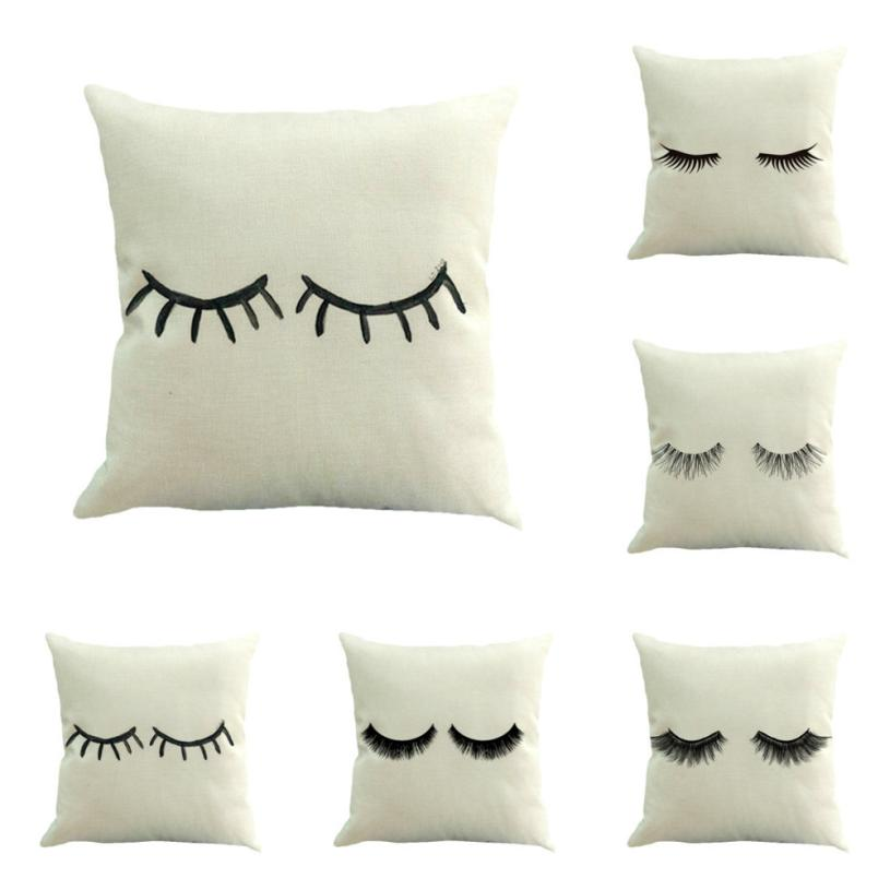 Hotel Home Decor Funny Eyelash Cushions Covers Lips Decorative Throw Pillow Cover Lashes Pillows Cases All Size 45X45CM #