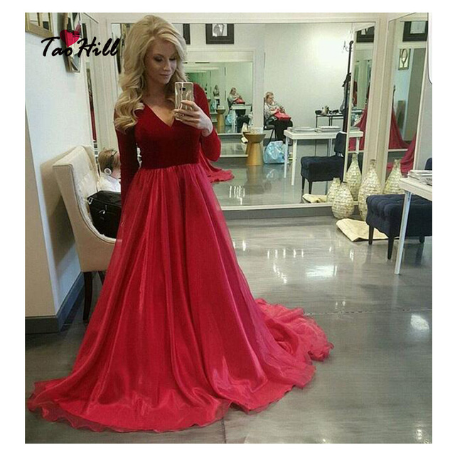 f14b124ca4 Tao Hill Formal Evening Gowns Dresses A-line V-neck Long Sleeves Dark Red  Velvet Evening Party Dress ED222