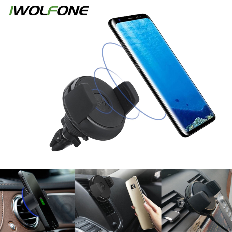 2018 Promotion Hot Sale Car Holder Qi Wireless Car Charger Mount Cell Phone Air Vent Holder For Iphone 8 Plus X Galaxy S8 Note