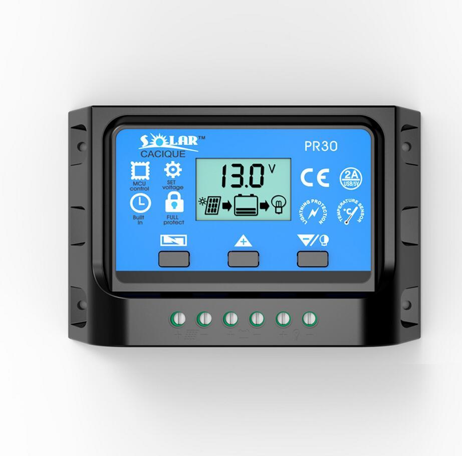 LCD PWM Solar Charge Controller 12V24V Battery Regulator Dual USB 10A 20A 30A