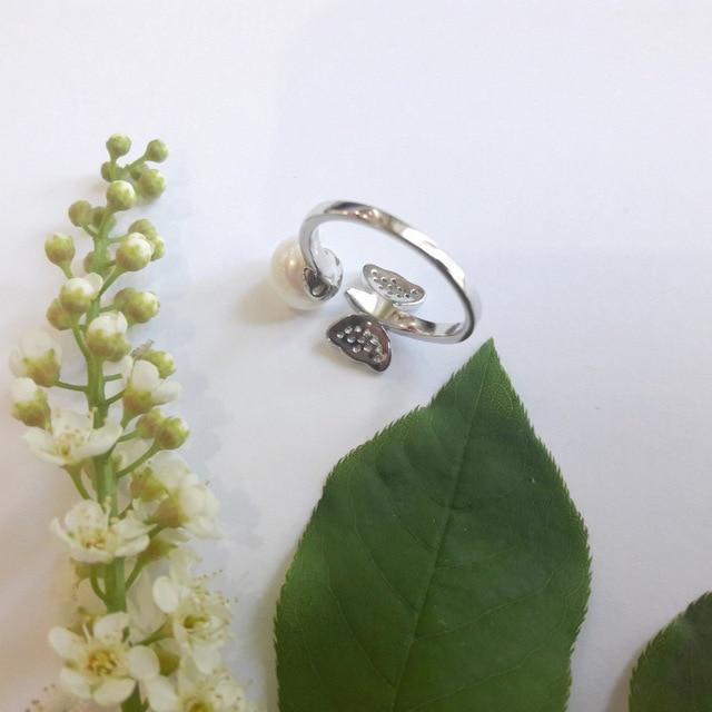 Rinntin 100% Anelli D'argento Per Le Donne Del Modello di Farfalla Reale Con 7 MM Perla Dell'acqua Dolce Ragazze Romantico Anello Gioielli PSR29