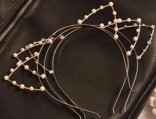 Womens Lace Cat Ears Faux Crystal Rhinestones Alloy Headband Hair Band Hair Hoop