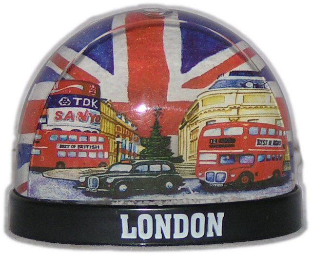 small snow globe plastic with london artwork tourist souvenir