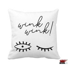 [MIAOJI]  Blanco y Negro Resumen Guiñar Los Ojos Tamaño Multi Throw Funda de almohada Envío Gratis
