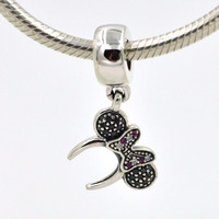 Fits Pandora Bracelet Authertic 925 sterling silver pendant charm mouse headband Pave Charms DIY making jewelry wholesale