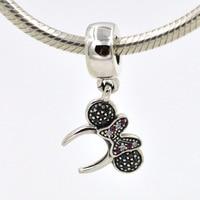 Fits Pandora Charms Original Bracelet 925 Sterling Silver Pendant Charm Minnie Headband Pave DIY Jewelry Making