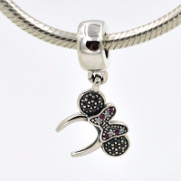 Fits Pandora Charms Original Bracelet 925 Sterling Silver Pendant Charm Minnie Headband Pave DIY Jewelry Making