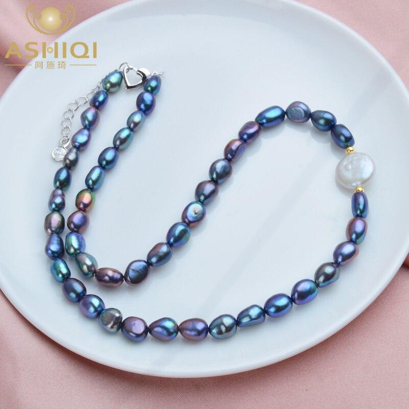 ASHIQI Natürliche Süßwasser Barocke Perle Halskette für Frauen Authentische 925 Sterling Silber Ball Schmuck