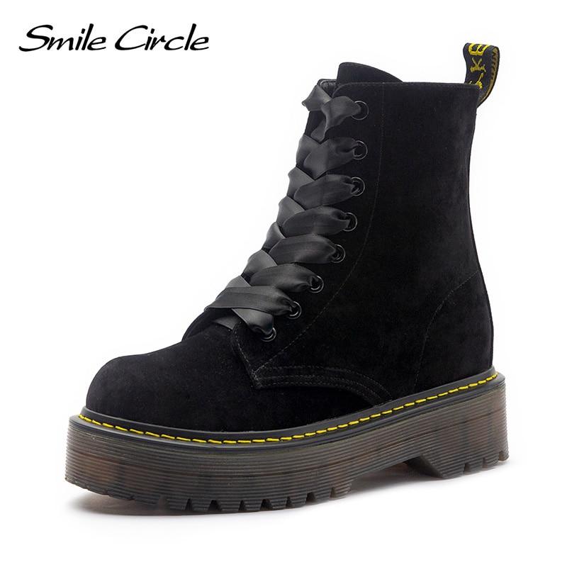 купить Warm fur boots winter chunky Heel Leather boots Women Shoes Lace-up flat platform ankle Boots autumn 2018 Plush snow work boots онлайн