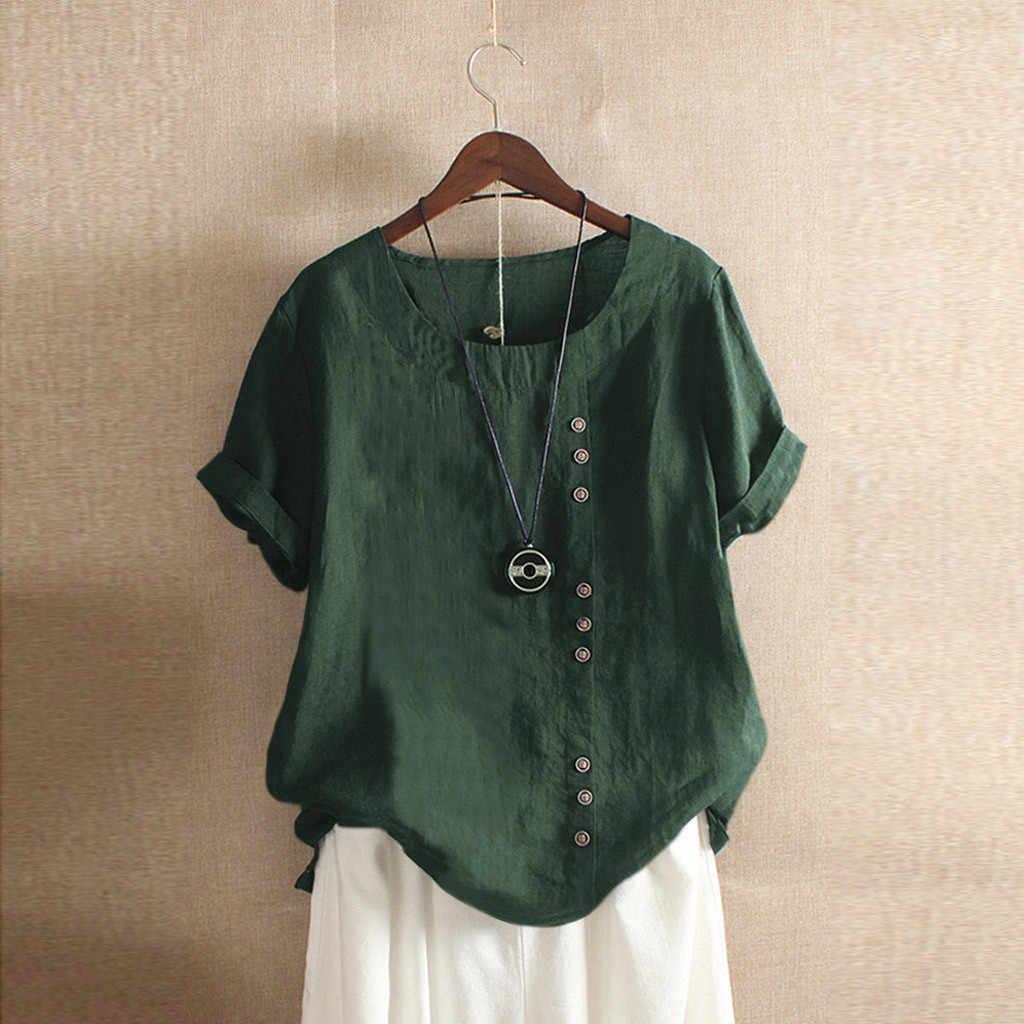 Womens Blouse Casual Loose Button Linen Tops Daily Boho top Tanic Shirt Blouse Tops Plus Size Damska koszula 5XL блузка женская