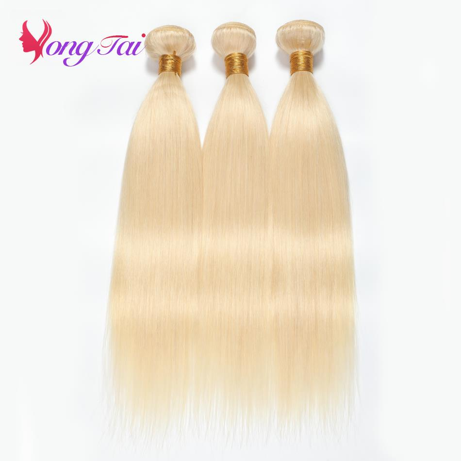 YuYongTai Hair Brazilian Blonde Straight Bundles With Closure 3Bundles 100 Human Hair Remy Hair 10 24inch