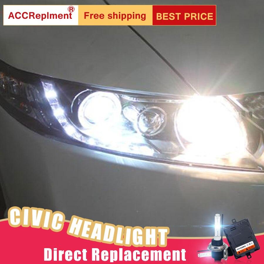 2Pcs LED Headlights For Honda Civic 2007 2011 led car lights Angel eyes xenon HID KIT Fog lights LED Daytime Running Lights