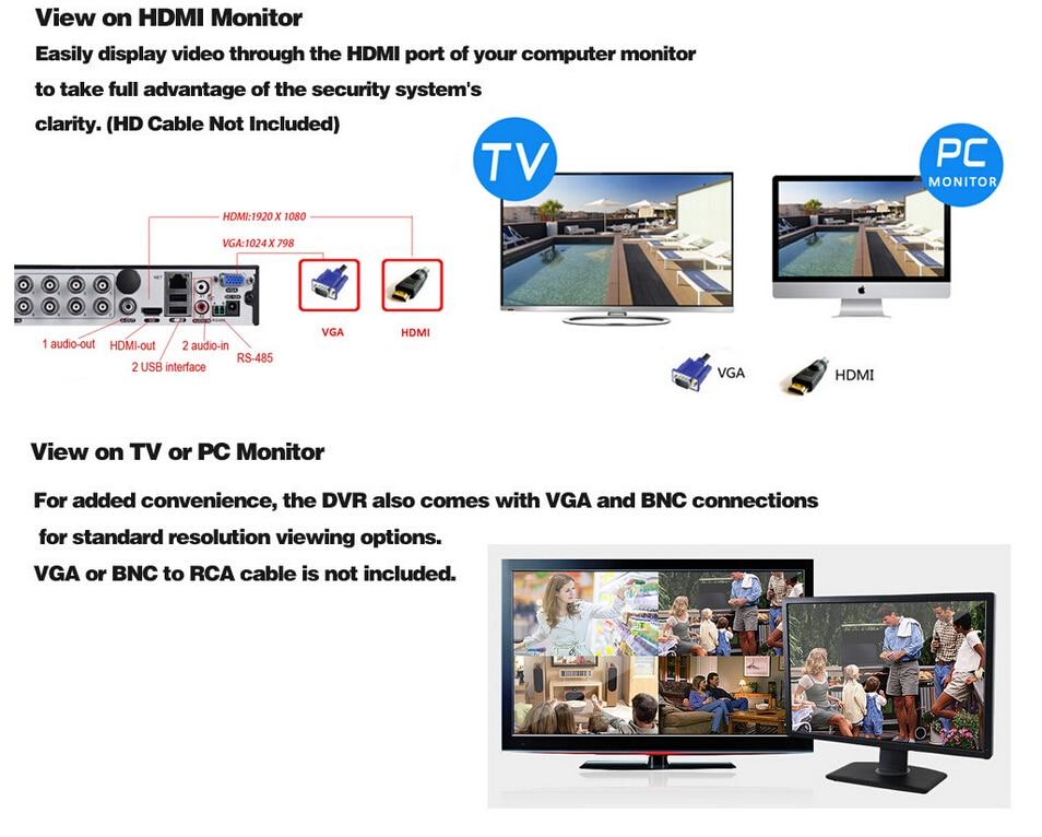 HKIXDISTE DVR Recorder 16CH Kit Camera NVR 16 Channel HDMI VGA Max 4TB P2P View Video Recorder Support AHD/Analog/TVI/CVI/IP Cam