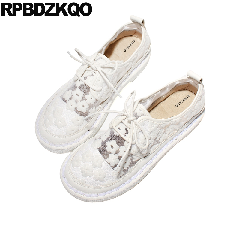 Mesh Lace Up Ladies Cheap Shoes China White Flower Flats Beautiful Blue Round Toe Summer Japanese School Soft Women Breathable cheap hot women shoes 2018 summer women flat white shoes comfortable breathable super soft pu leather lace ladies casual shoes