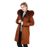 Зимнее теплое пальто с капюшоном для Для женщин элегантные пальто из искусственного меха с натуральным лисьим мехом на капюшоне Женский Slim