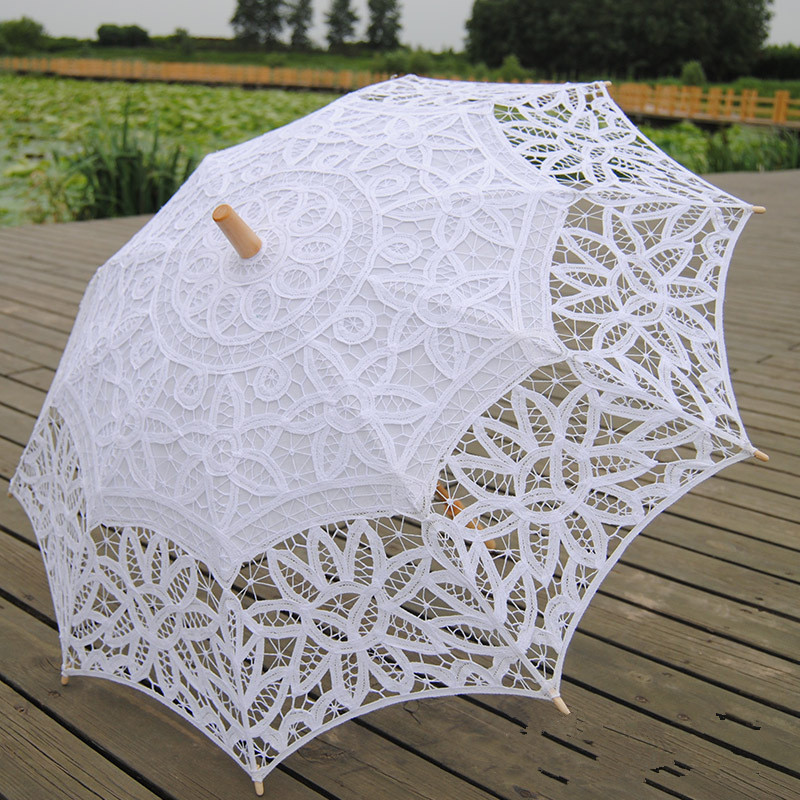 Fashion Sun Lace Umbrella Parasol Embroidery Bride Umbrella White Wedding Umbrella Ombrelle Dentelle Parapluie Mariage