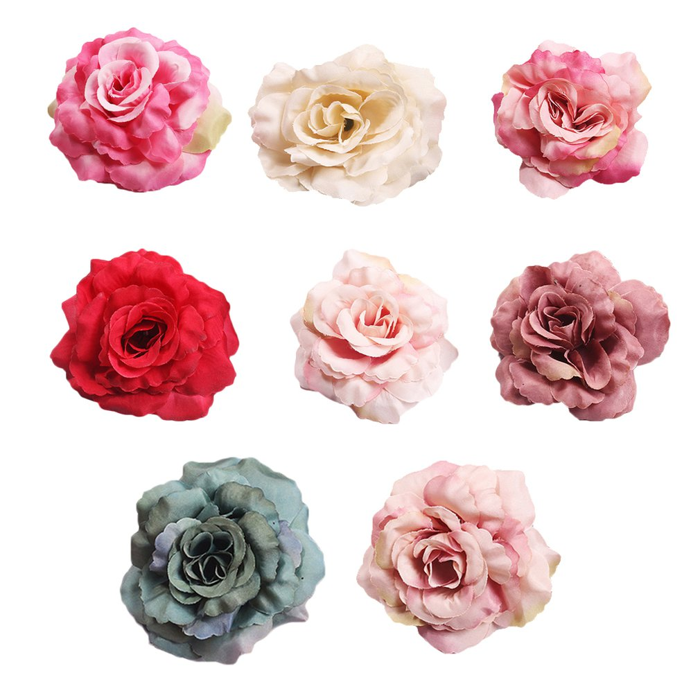 10Pcs/Artificial Silk Rose Flower Heads Diy Craft Wreath Gift Scrapbooking For Wedding Home Decoration Fake Flowers