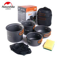 Naturehike Outdoor Tableware Camping Pot Set Barbecue Picnic Backpacking Hiking Cookware Cooking Bowl Pot Plate Cooker Set