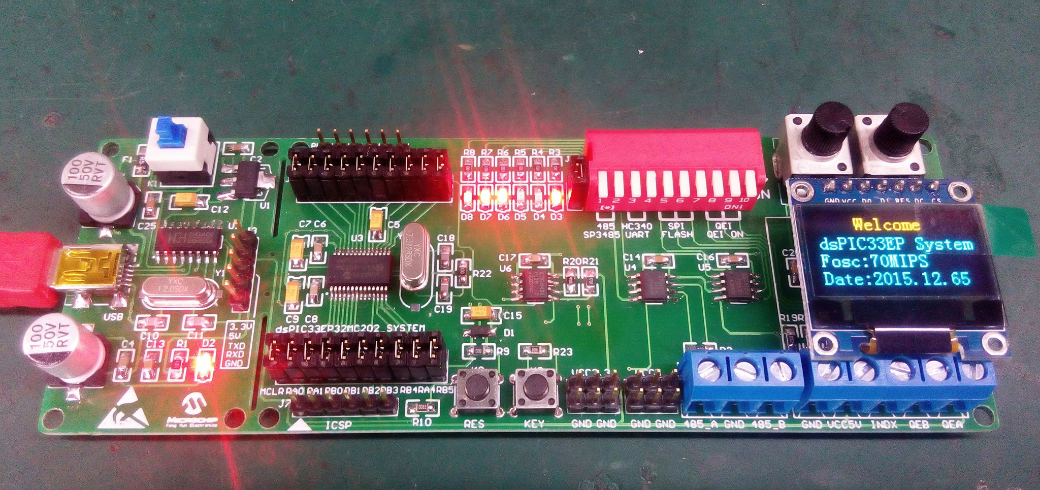 DsPIC development board, dsPIC33EP development board, DSP experimental board, dsPIC33EP series development board board