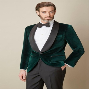 Latest Coat Pant Designs Green Velvet Groom Tuxedo Black Shawl Lapel Blazer Gentleman Suit 2 Piece Mens Wedding Prom Party Suits